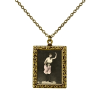 Vintage Photo Pendant Necklace - Woman Dancing with Her Cat