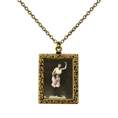 Woman Dancing with Her Cat Frame Necklace