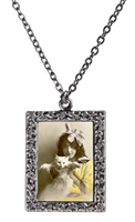 Girl with White Cat Frame Necklace