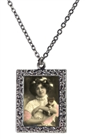 Woman in Pink Holds Kitten Frame Necklace