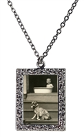 Vintage Photo Pendant Necklace - Baby and Dog on Porch