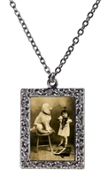 Vintage Photo Pendant Necklace - Serenading the Poodle