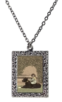 Vintage Photo Pendant Necklace - Boy and Great Dane