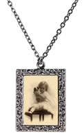 Vintage Photo Pendant Necklace - Little Girl and Dog Puppet