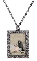 Vintage Photo Pendant Necklace - Little Girl and Her Poodle