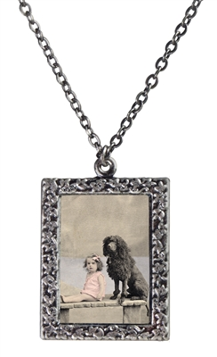 Little Girl and Her Poodle Frame Necklace