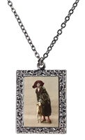Vintage Photo Pendant Necklace - Woman and Borzoi