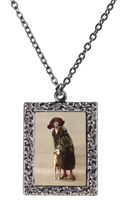 Woman and Borzoi Frame Necklace