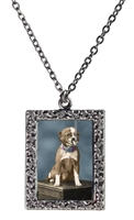 Vintage Photo Pendant Necklace - Smoking Chihuahua