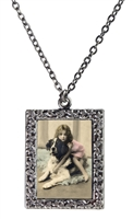 Vintage Photo Pendant Necklace - Little Girl Hugging St. Bernard