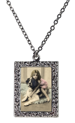 Little Girl Hugging St. Bernard  Frame Necklace