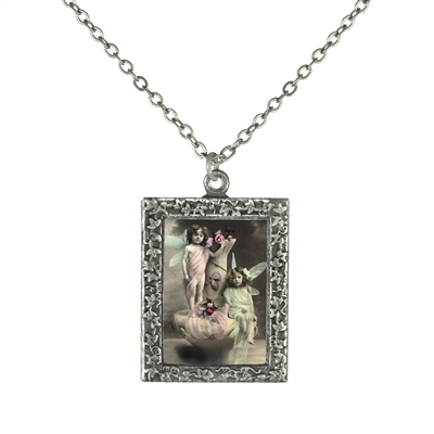 Two Fairy Children Frame Necklace
