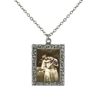 Vintage Photo Pendant Necklace - Cupid Hugging Woman