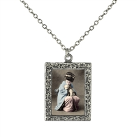 Vintage Photo Pendant Necklace - Blue and Pink Geisha with a Puppy
