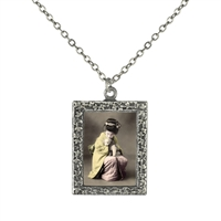 Vintage Photo Pendant Necklace - Pink and Yellow Geisha with a Puppy