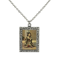 Vintage Photo Pendant Necklace - Geisha Playing a Flute