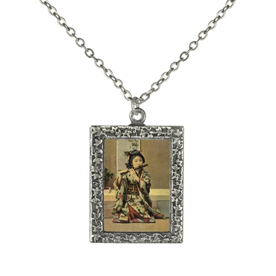 Geisha Playing a Flute Frame Necklace
