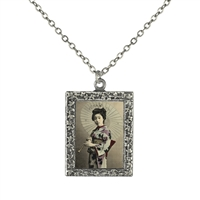 Vintage Photo Pendant Necklace - Lavender and Blue Geisha
