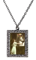 Vintage Photo Pendant Necklace - Dressing Her Horse