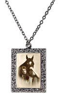 Vintage Photo Pendant Necklace - Portrait of Woman with Bay Horse
