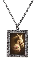 Vintage Photo Pendant Necklace - Portrait of Woman with a White Horse