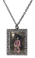 Vintage Photo Pendant Necklace - Gypsy in Pink with Horse