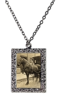 Vintage Photo Pendant Necklace - Dog Sitting on Horse