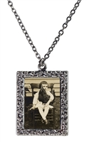 Vintage Photo Pendant Necklace - Little Girl and Rooster