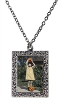 Vintage Photo Pendant Necklace - Little Girl and Her Pumpkins