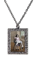 Vintage Photo Pendant Necklace - Little Girl Giving Boy a Spanking