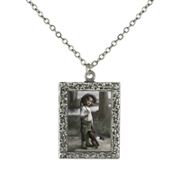 Vintage Photo Pendant Necklace - Teddy Bear Killer