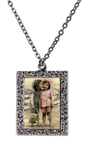 Vintage Photo Pendant Necklace - Friends at the Beach