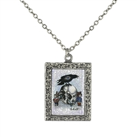 Skull and Raven Art Pendant Necklace