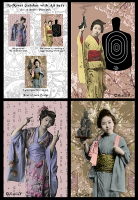 Geishas With Attitude Postcard Set