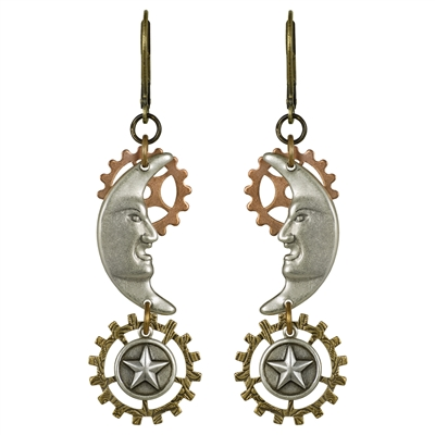 Mystic Moon Steampunk Earrings