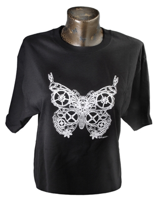 Black and White Screaming Steampunk Butterfly Tee Shirt