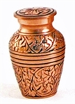 COPPER OAK CREMATION URN KEEPSAKE W/VELVET BAG