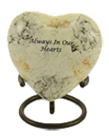 GLENWOOD WHITE MARBLE CREAMTION URN HEART KEEPSAKE