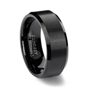 Black Brushed Tungsten Carbide Wedding Ring with Beveled Edge