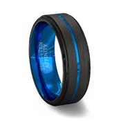 Brushed Black Tungsten Carbide Ring Polished Double Beveled Edges with Blue Center Channel