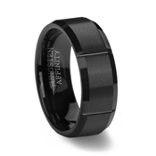 Black Slotted Mens Tungsten Ring Brushed Finish