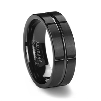 Brushed Black Tungsten Ring & Intersecting Grooves