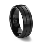 Brushed Finish Black Tungsten Carbide Ring & 2 Polished Grooves