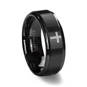 Black Brushed Cross Wedding Ring