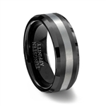 Black Brushed Tungsten Carbide Wedding Ring with Beveled Edge and natural center
