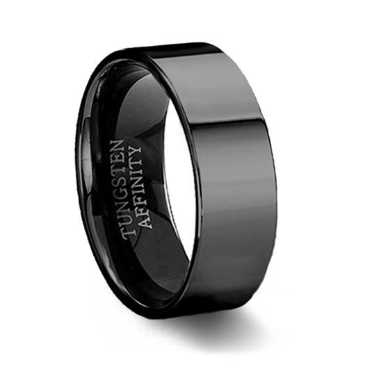 Polished Black Tungsten Ring | Black Pipe Cut Wedding Ring