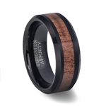 Black Tungsten Ring Polished Finish with Koa Wood Inlay
