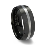 Domed Black Tungsten Wedding Band with Brushed Center
