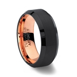 Brushed Black Tungsten Carbide Ring Polished Beveled Edges with Rose Gold inner band