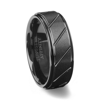 Black Ceramic Ring Brushed Finish & Diagonal Grooves